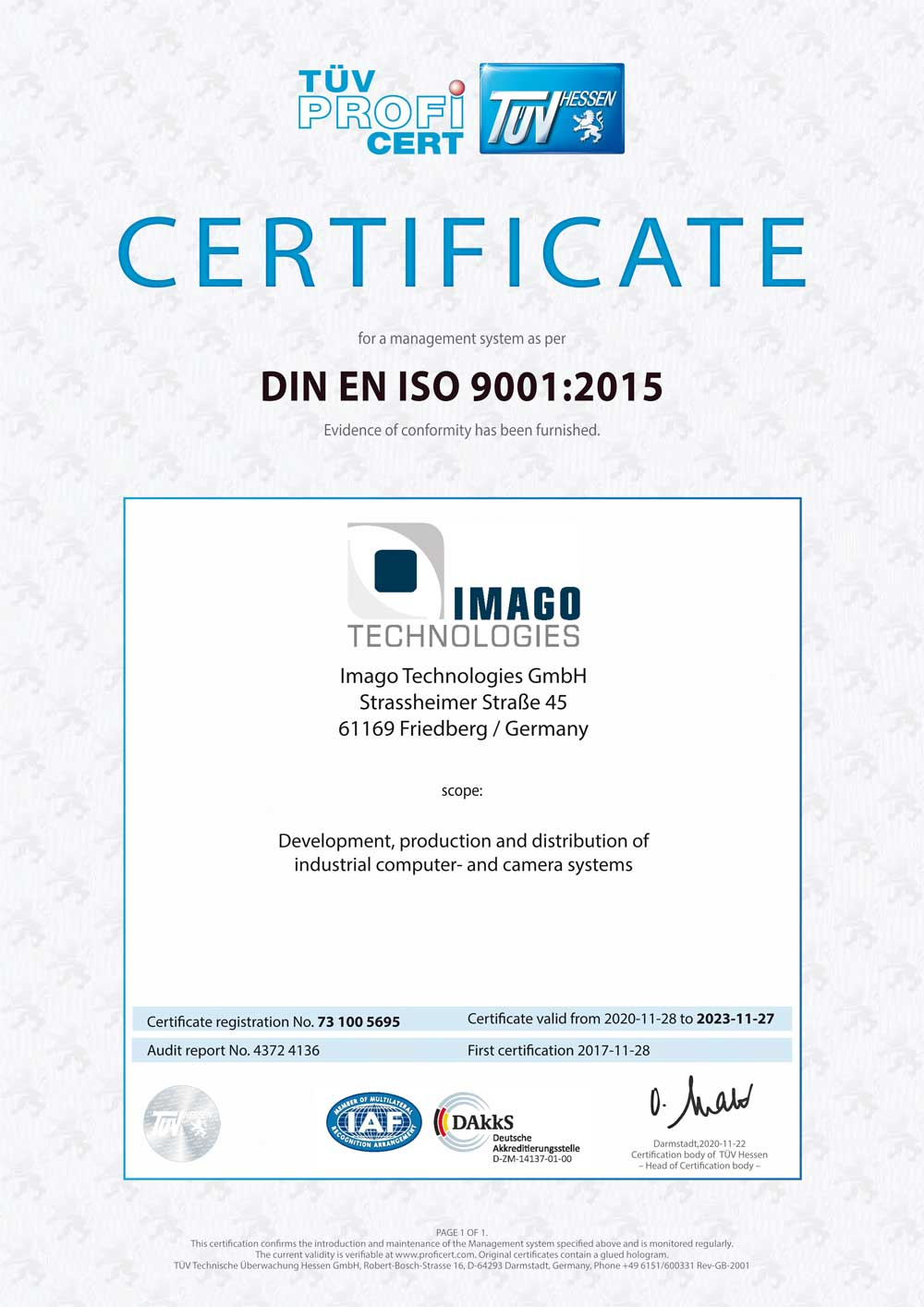IMAGO quality assurance iso certificate